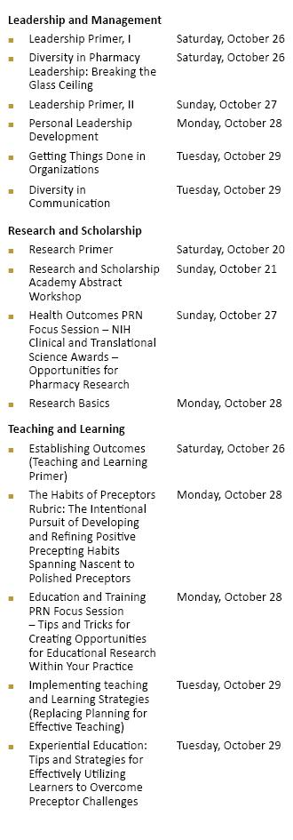 ACCP Academy Schedule